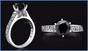 G C+ Anillo De Compromiso Diamante Negro Plata Oro -50% 005