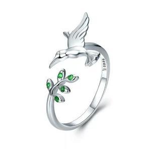 Hermoso Anillo Colibri De Plata.925 Cristales Verdes Mujer!