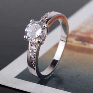 Hermoso Anillo De Compromiso Oro Blanco 18k Diamante.30cts