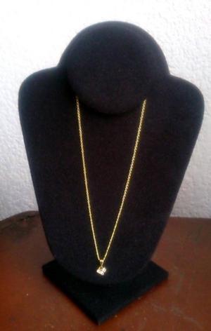 Cadena con Pendiente 3 Zirconias Chapa Oro 18 Kt 44 cms
