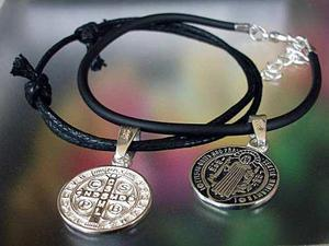2 Pulseras Medalla San Benito En Plata Ley.925