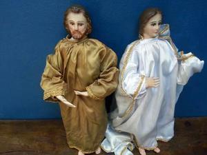 Antiguo Arte Sacro. José Y María. Madera. Grandes 50 Cm