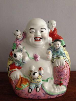 Antiguo Buda Porcelana China 5 Niños Felices