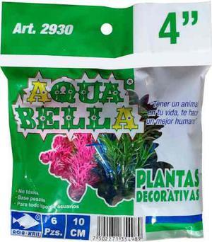 Aquakril Plantas De Plástico Para Acuario Bolsa C/6 Pza