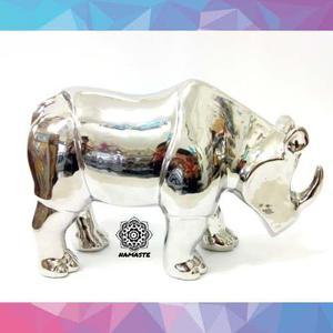 Bella Escultura De Rinoceronte En Fina Resina - Envio Gratis