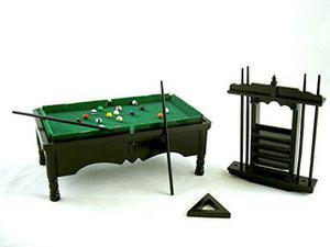 Casa De Muñecas En Miniatura Negro Mesa De Billar Conjunto