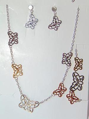 Collar Aretes Pulsera Mariposa Acero Inoxidable Envío