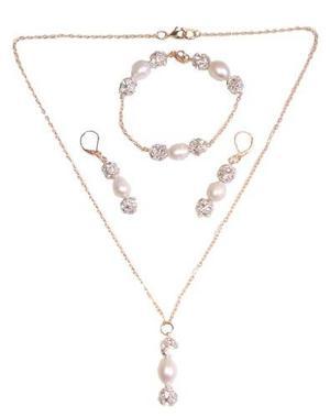 Collar Aretes Y Pulsera Chapa De Oro Y Perlas Cultivadas A02