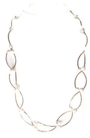 Collar Aretes Y Pulsera Perla Cultivada Y Chapa De Oro A010