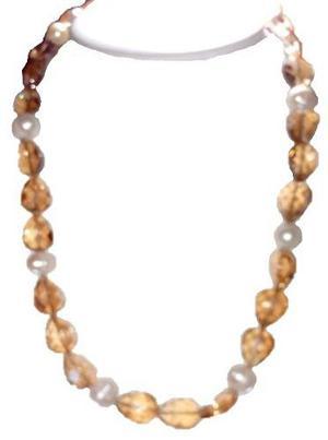 Collar Pulsera Y Aretes De Cuentas Y Perlas Cultivadas A035