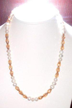 Collar Pulsera Y Aretes De Perlas Cultivadas Y Cuentas A042