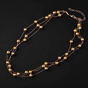 Collar Triple De Perlas Doradas 40 Cm Largo + Regalo Pulsera