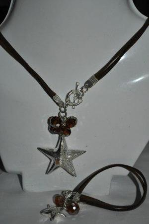 Collar Y Pulsera De Cristal Y Gamusa Oso, Flor Estrella Dpa