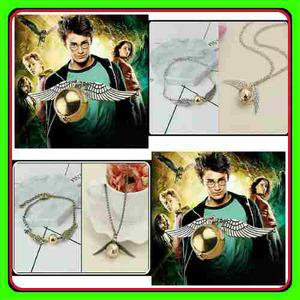 Collar Y Pulsera Harry Potter Snitch Alas Dorada
