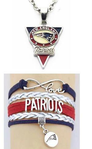 Collar Y Pulsera Patriotas Nueva Inglaterra Envío Gratis