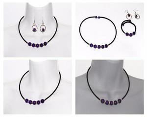 Conjunto Collar, Pulsera Y Aretes Piedra Amatista Ccpn627