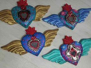 Corazón Retablo Alas De Madera Con Hojalata Milagro Oaxaca