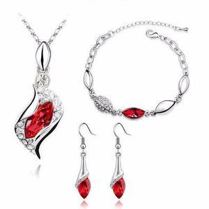 Cristales Set Caja Y Certificado Collar Rojo Pulsera Aretes