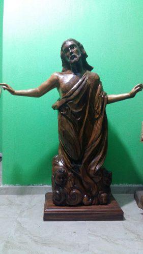 Cristo En Ascensión/escultura De Madera Huanacaxtle +