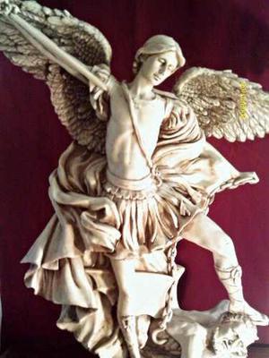 Envio Gratis Arcangel Miguel Resina Patinado Antiguo 62 Cm