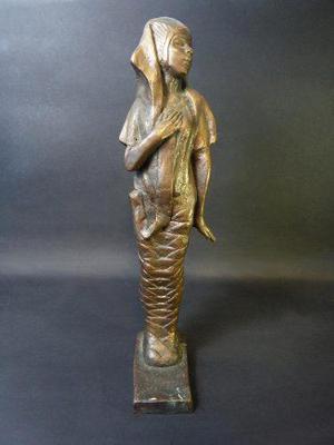 Escultura Antigua De Momia Egipcia En Bronce Sólido
