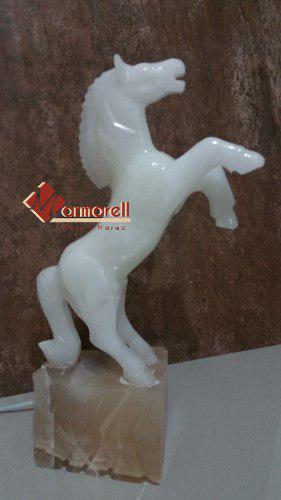 Escultura Caballo De Piedra De Onix Blanco 36 Cm, Lampara