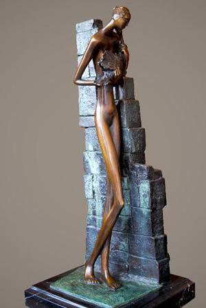 Escultura De Bronce Leda Y El Cisne