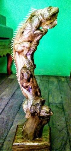 Escultura De Iguana Tallada En Madera 45 Cm(por Encargo)