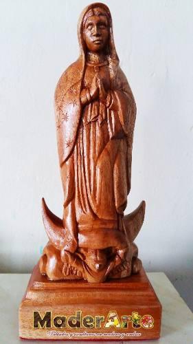 Escultura De La Virgen De Guadalupe En Madera De Cedro