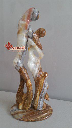 Escultura En Onix Talan Natural La Familia. Decoración