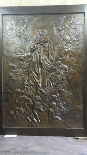 Escultura Relieve Bronce Virgen Nuestra Señora De Los