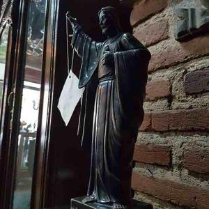 Figura De Jesus De Bronce Con Base De Marmol Negra