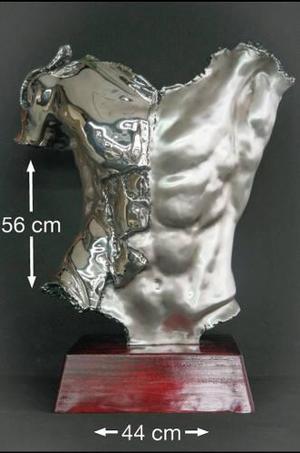 Figura Decorativa Torso De Hombre Plata.999 Escultura