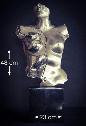 Figura Electroformado Plata.999 Torso Hombre O Mujer Mármol