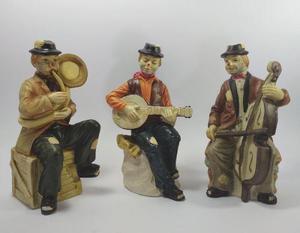 Figuras De Cerámica Payasos Borrachitos Cantando.
