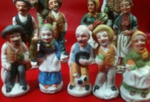Figuras De Porcelana Viejitos-11pz.-taiwan-adornos-antiguos