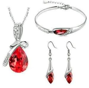 Fino Set Collar Aretes Y Pulsera Gota Rojo Swarovski Elem