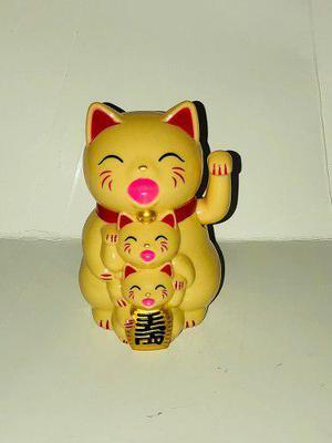 Gato Maneki Neko Buena Suerte Beige 12 Cm Japones Lucky Cat