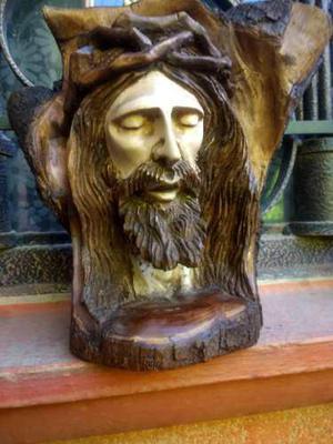 Hermoso Rostro De Cristo Jesus Tallado En Madera Fina
