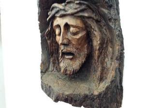 Hermoso Rostro De Cristo Tallado Madera Patol. 55cm De Alto.