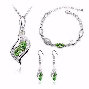 Hermoso Set Collar Dije Aretes Pulsera Verdes Cristales Swa