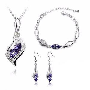 Hermoso Set Cristales Morado Collar Dije Aretes Pulsera
