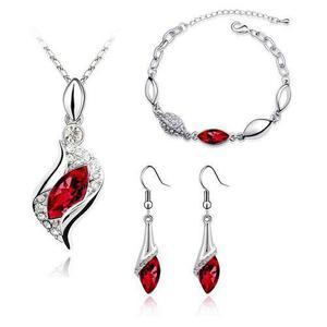 Hermoso Set Swarovski Rojo Fuego Collar Aretes Pulsera Amor