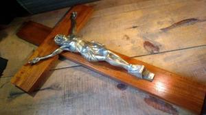 Impresionante Cruz Cristo De Caoba Y Bronce 62 Cm