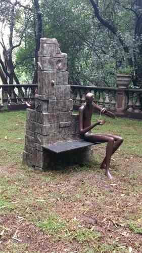 Impresionante Escultura Objeto Banca Funcional Bronce