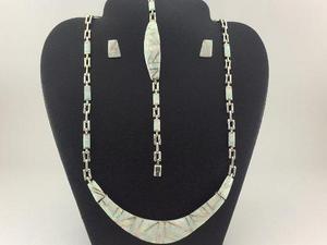 J11 Juego Collar Pulsera Aretes De Plata925 Con Piedra Opalo