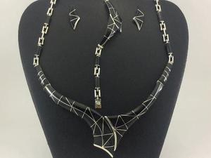 Juego Collar Pulsera Aretes De Plata 925 Con Piedra J5