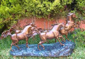 Lrc Estampida De Caballos, Escultura De Bronce, Excelente!!!