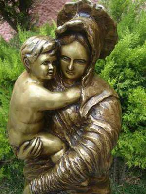 Madre E Hijo, Preciosa Escultura! Hecha De Bronce!.
