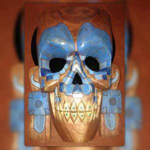 Mascara Maya Rostro Turquesa E Incrustracion De Jade Madera